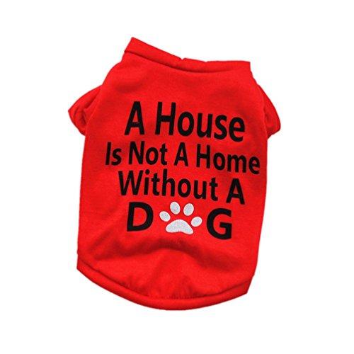 Culater 2019 Maglietta Unisex in Cotone con Stampa Lettera per Cani da Vacanza Abbigliamento Maglioni Vestiti per Animali per Cani di Piccola Taglia (M, Rosso)