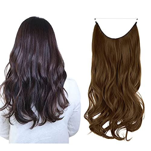 OMGREAT Ombre Halo Hair Extensions Long Wavy Curly Synthetic Hair Piece for Women Light Chestnut Brown Transparent Wire Headband Heat Friendly Fiber 18 Inch 4.2 Oz No Clip