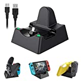 Charging Dock for Switch and Switch Lite, KIWIHOME Compact Charging Dock Stand Station Compatible with Switch Joy-con and Pro Controller with Charging Indicator and Type C Charging Cable (Black)