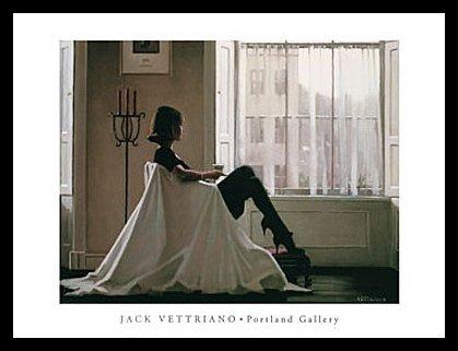 Jack Vettriano Poster Kunstdruck In Thoughts of You Bild mit Alu Rahmen in schwarz