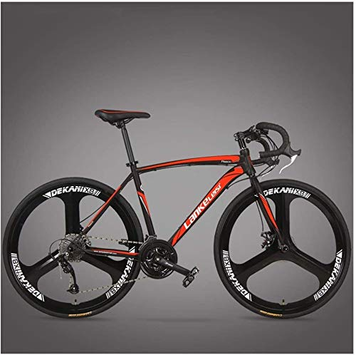 XinQing-Bike Road Bike 21/27 Speed Disc Brake Integrated Wheel Road Bike Racing Men and Women Bicycles (Color : 3 Spoke Red, Size : 27 Speed)