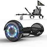 GeekMe Hoverboards con Hoverkart 6.5 Pollici Scooter Auto bilanciamento Sicurezza LED e Altoparlante Bluetooth, Regalo per Bambini e Adulti
