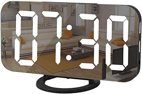 LED-Digitalwecker, tragbarer LED-Spiegel-Wecker mit 2 USB-Anschlüssen, 16,5 cm LED-Display mit 3 Dimm-Modi, Schlummerfunktion für Reisen, Schlafzimmer, Büro, tolles Geschenk