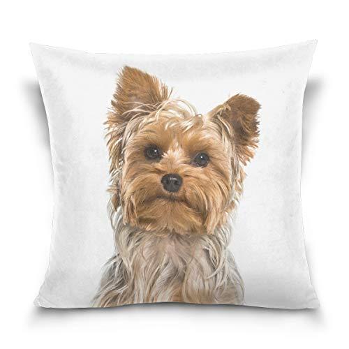 VinMea Yorkshire Terrier - Funda de cojín Cuadrada Decorativa para sofá, Dormitorio, Coche, diseño de Doble Cara, 45,7 x 45,7 cm