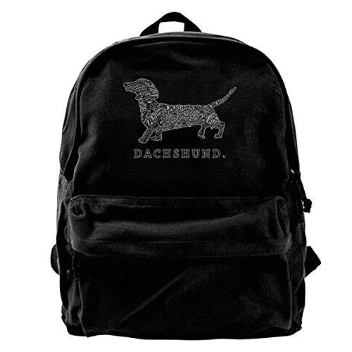 NJIASGFUI Zainetto in tela a forma di bassotto Doxen Weiner Word Zaino per palestra, escursionismo, laptop, borsa a tracolla, per uomo e donna