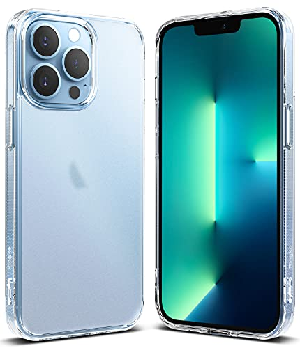 Ringke Fusion Compatible con Funda iPhone 13 Pro (2021) Anti Huella Dactilar Acabado Mate Agarre Cómodo, Carcasa Transparente Helada con Agujeros para Cuerda - Matte Clear