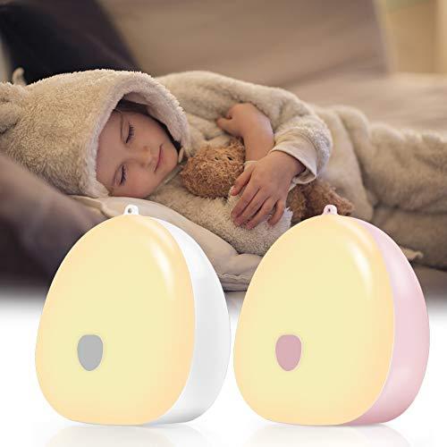 Jefshon Luz Nocturna LED Para Niños, 2 Unidades, Intensidad Regulable, Tres Colores de Luz Blanco Cálido y Luz Blanca y Blanco Frío, Cambio de Color,Lámpara de Mesita de Noche para Habitación