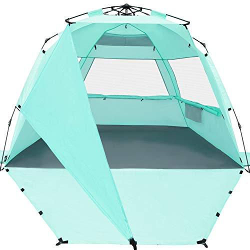 KO-ON XL Beach Tent Sun Shelter Pop Up , Easy Setup Beach Shade for 3-4 Person with UPF 50+ Protection, Extra Shade on One Side, Extended Floor & 3 Ventilation Windows (Purist Blue)