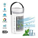 Enfriador De Aire Mini Aire Acondicionado Personal 4 En 1, USB Purificador, Humidificador Y Luz De 7 Colores, 3 Velocidades Mute Spara El Hogar, La Oficina