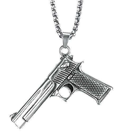 PAURO Hombre Acero Inoxidable CS Pistola Colgante de la Pistola Hip Hop Punk Collar para el Motorista Plata con Cadena Grande