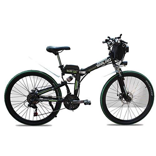 """Jieer Bicicleta Montaña Niño, Bicicleta de Montaña Eléctrica de 48 V, Bicicleta Eléctrica Plegable de 26 Pulgadas con Ruedas de Radios Gordas de 4.0"""", Suspensión Completa Premium, Negro"""