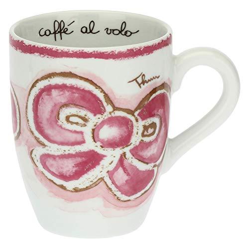 THUN - Becher mit Schleife - Rosa Tasse aus Porzellan - Tasse für Tee, Kaffee, Tee, Milch und heiße Kokosnuss - Linie Happy - Porzellan - 280 ml