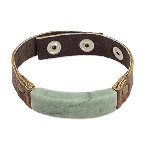 NOVICA Light Green Jade Pendant Leather Men's Wristband Bracelet with Brass Snaps, 7\