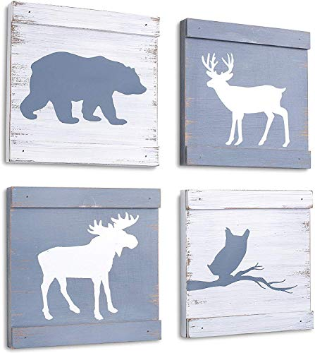 Home Rustique Rustic Cabin Decor Bear Moose Owl and Deer Wooden Wall Decoration (Set of 4, White + Grey) | Woodland Lodge Decor Wall Art | Hunting Decor | Rustic Wall Decor…