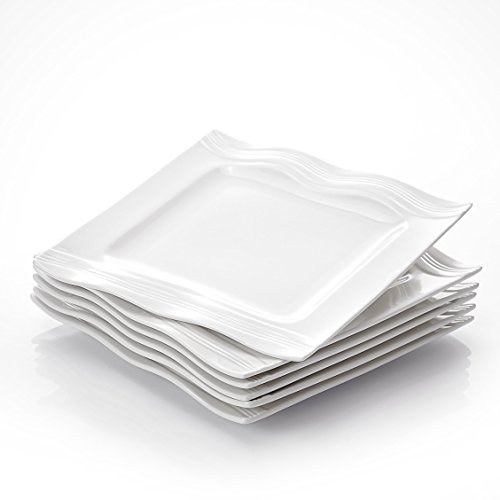 MALACASA, Serie Mario, Cremeweiß Porzellan 6 teilig Flachteller Essteller 26 x 26 x 2,5 cm
