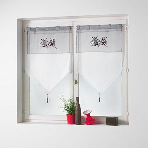 Le Jardin des Cigales Paire Pompon passants Polyester Taupe 2 x 60 x 160 cm