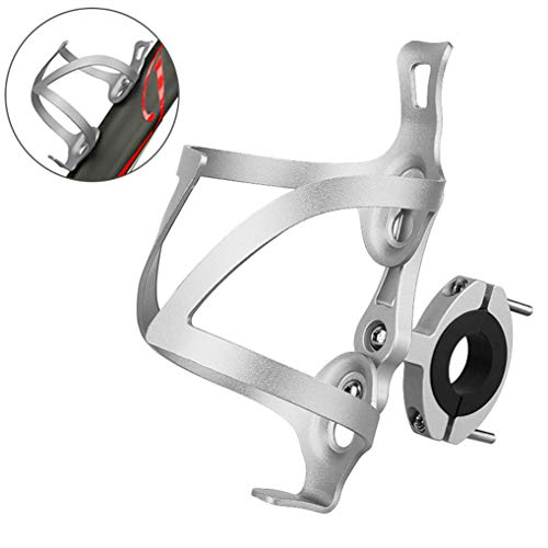 GuDoQi Universeller Flaschenhalter Fahrrad, Verstellbarer Fahrrad Getränkehalter mit Adapter, 90° Drehung, Aluminiumlegierung, Fahrräder Rennrad y Mountainbikes (Silber)