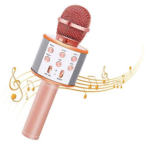 Bearbro Micrófono Inalámbrico Bluetooth,Micrófono Karaoke Bluetooth Portátil con Función Selfie para Niños Canta Partido Musica, Compatible con Android/iOS PC, AUX o Teléfono Inteligente (oro rosa)