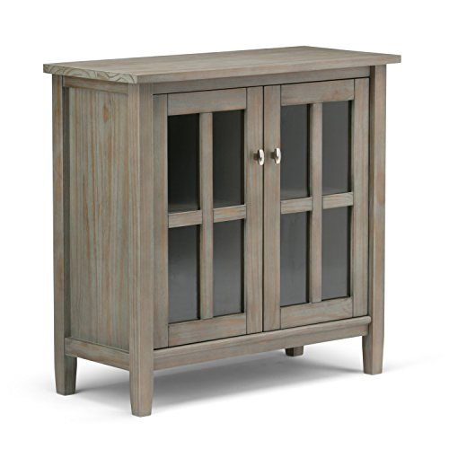 SIMPLIHOME Warm Shaker SOLID WOOD 32 inch Wide Rustic Low Storage Cabinet in Distressed Grey, with 2 Adjustable Shelves, Tempered Glass Door