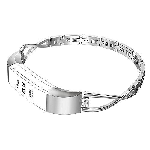 Tosuny Bracelet de Remplacement en Forme de X Compatible avec Fitbit Alta et Fitbit Alta HR, Bracelet en métal pour Fitbit Alta/Fitbit Alta HR(Argent)