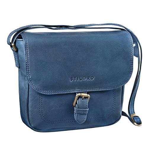 STILORD 'Zoe' Umhängetasche Damen Leder Handtasche Frauen Elegante Schultertasche Vintage Ledertasche klein 8,4 Zoll Partytasche Abend Ausgehtasche Echtleder, Farbe:blau