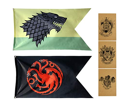 ZCWOLTM Regalos de cumpleaños para el Hijo, [124X69CM] Stark Targaryen, Juego de Tronos Banderas para el Aula Dormitorio Jardín