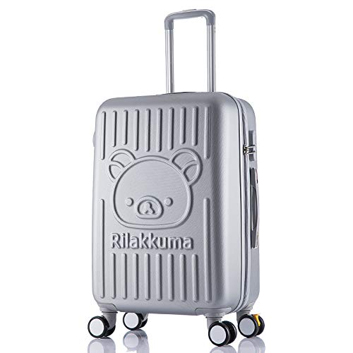 Baiteng Cartoon-Koffer Easy Bear Braun Bär Trolley Rollator Gehege Student Gepäck Password Koffer Grau 50,8 cm