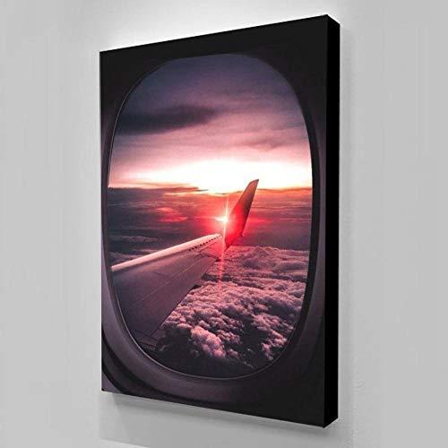 QianLei Canvas Vliegtuig Raam Schilderij Scandinavische stijl muur kunstwerk HD druk Poster 50x70cm Geen lijst