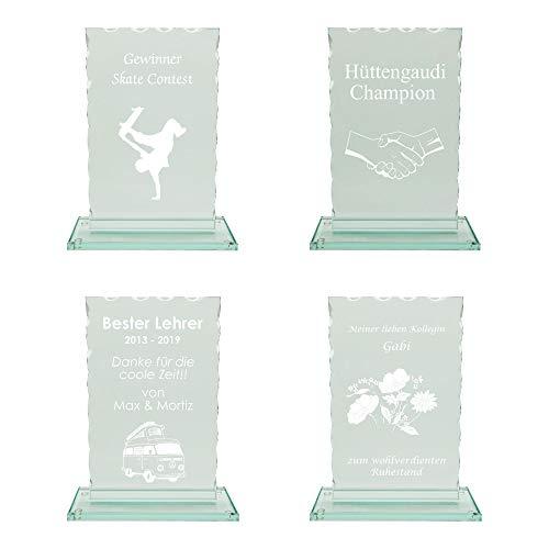 JSSC Neugart GmbH Glaspokal, Wellenschliff (gerade), in 3 verschiedenen Größen oder als Serie mit über 30% Nachlass (komplette Serie, Text+Logo schwarz/weiß)