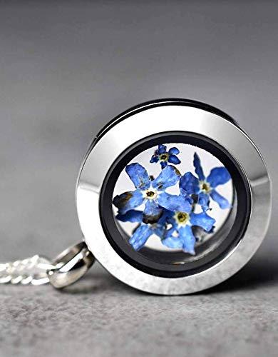 Medaillon mit Blau Vergissmeinnicht Blüten - Kette 50cm - 925 Sterling Silber - Geschenk Set