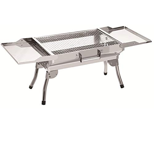ColourTree Stainless Steel Portable Travel Folding Barbecue BBQ Charcoal Grill with Legs - Silver Chrome, Lightweight, Foldable - for Camping, Picnic, Outdoor (Silver)
