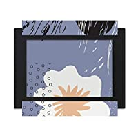 白と紫の抽象的な植物の芸術 デスクトップフォトフレーム画像ブラックは、芸術絵画7 x 9インチ