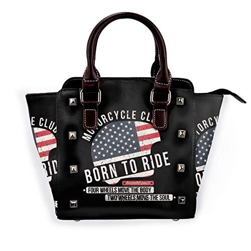 Never Grow Up Damen-Handtasche aus echtem Leder mit Nieten, Rot - Motorradhelm mit USA-Flagge. - Größe: Einheitsgröße