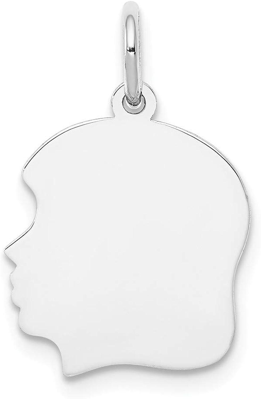 Beautiful White gold 14K 14k White gold Plain Medium Facing Left Engravable Girl Charm