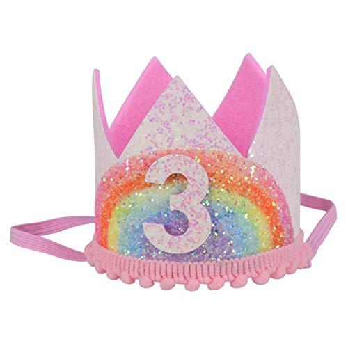 Amosfun Brillo Tres Tercer Cumpleaños Corona Tiara Sombrero Tercer Tercer Cumpleaños Fiesta Regalos para Bebés Niñas Niños Estilo 1