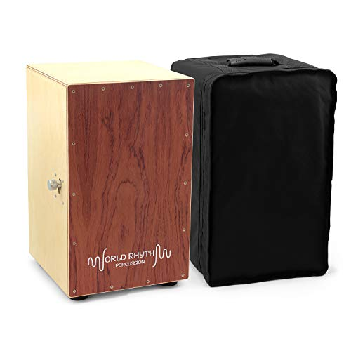 World Rhythm CAJ2-BR Cajon – Full Size Cajon with Adjustable Snare,...