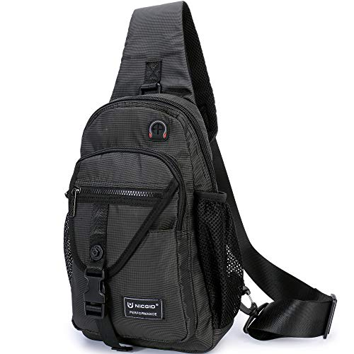Sling Bags, Chest Shoulder Backpack Crossbody Bag One Strap Daypacks Fit 11.6-Inch Laptops iPad Outdoor Travel for Men Women (Black-Fits 11.6-Inch Laptop)