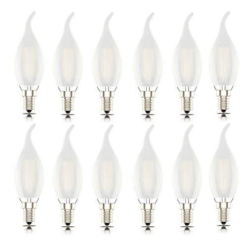 12er-Pack Phoenix-Led E14 Glühbirne warmweiss Dimmbar Kerze Lampe, Flamme Form Bent Tip,Warmweiß 2700K, 4W Ersetzt 40Watt, 400lm