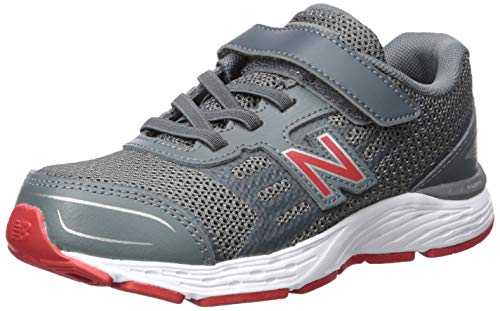 New Balance Boys' 680v5 Hook and Loop Running Shoe, Lead/red, 3 W US Little Kid