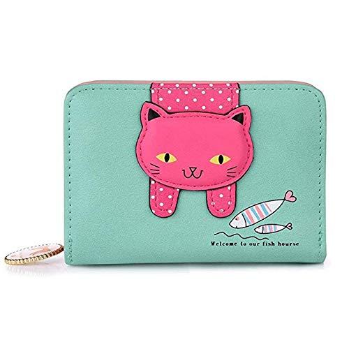 Damen Karikatur Katzen Portemonnaie, Katze Dekoration Reißverschluss Geldbörse, Leder Kleine Geldbörse mit Reißverschluss, Geschenke für Mädchen (Hellgrün)