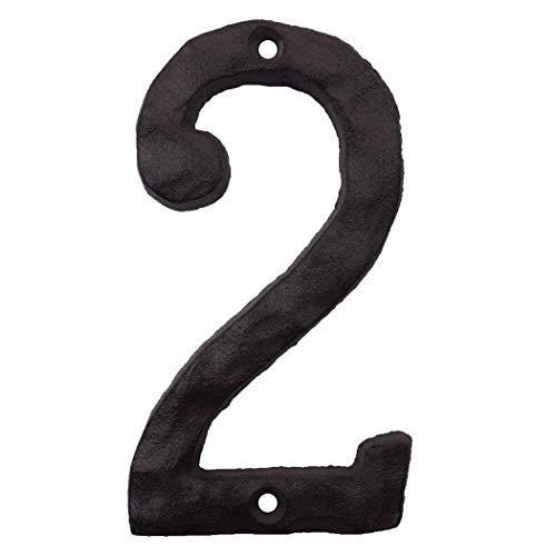 Cast Iron House Numbers- 6 Inch Rustic Address Number- Solid & Heavy Duty/Easy Install with Matching Screws Number 2