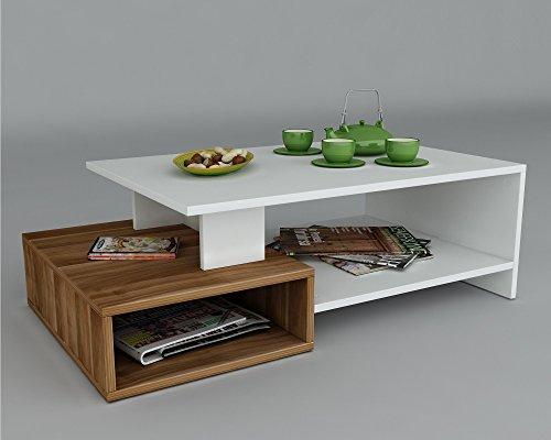 HOMIDEA Dux Tavolino Basso da Salotto - Materiale in Legno - Tavolino da Divano - Tavolino da caffè Moderno in Un Design alla Moda con mensola (Bianco/Noce)