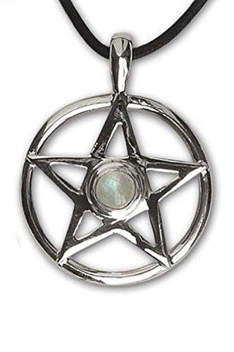Colgante de pentagrama de plata 925, piedra de luna arcoíris – amuleto protector – 1004