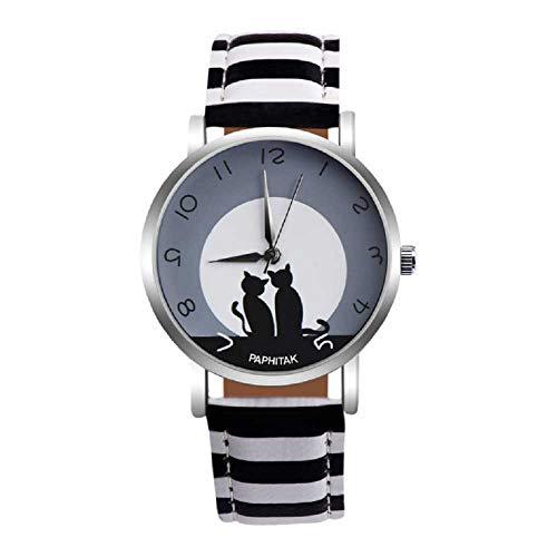 Venta de liquidación, WSSVAN Moda Casual Tai Chi Cat Estudiante Cinturón Reloj de Dibujos Animados Animal Chisme Pareja Reloj de Cuarzo Despeje Moda Salvaje Mujeres Vendiendo Relojes