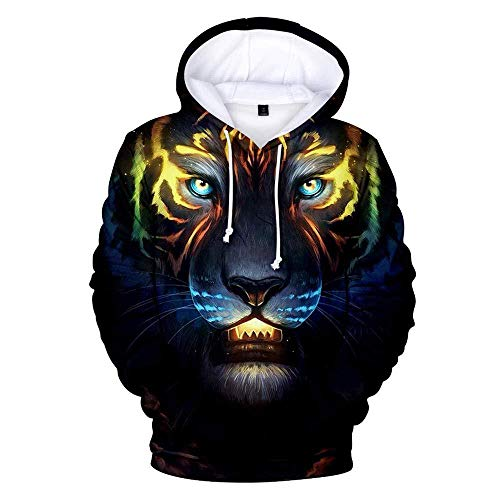 yyqx container Hooded Casual 3D Printing Hoodies Multicolor Tiger Dark Blue Manches Longues Respirant Unisexe Sweatshirts Réglable Drawstring Pullovers with Kangaroo Pocket-Color_3XL