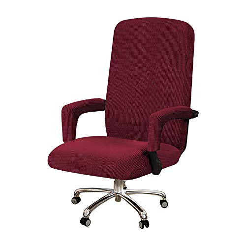 Elegant Luxury High Spandex Armchair Covers Modern Stretch Jacquard Furniture Protector, 1 Piece Recliner Covers for Medium Office Chair, Super Soft Machine Washable, Burgundy Red, Office Chair
