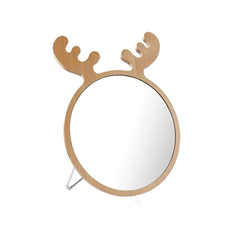 同じ馬鹿げたマウント個人化粧鏡 ドレッシングテーブルミラー、枝角の化粧鏡、家のための素晴らしい装飾、あなたの娘のためのギフト(イエロー)メイクアップ 美容ギフト (色 : 黄, サイズ : 17x22.6cm)