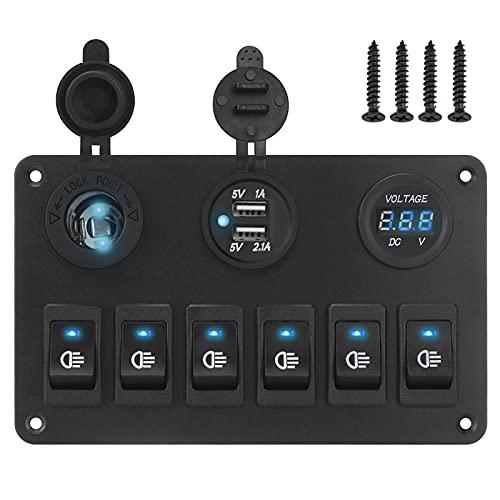 ER827QI Haoshan Circuito Marino de automóviles 6 Panel de Interruptor de rockero de pandillas ON/Off Puerto USB LED Voltímetro Digital DC 12V / 24V para Coche RV Camión ATV UTV (Color : Blue)
