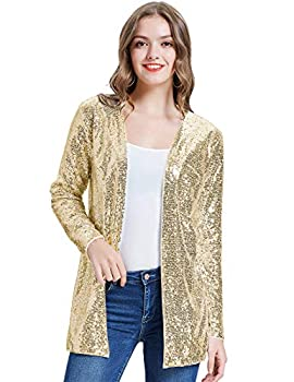 KANCY KOLE Women s Oversized Jacket Sparkly Glitter Sequin Blazer Open Front Long Cardigan for Cocktail Party  Gold,XL