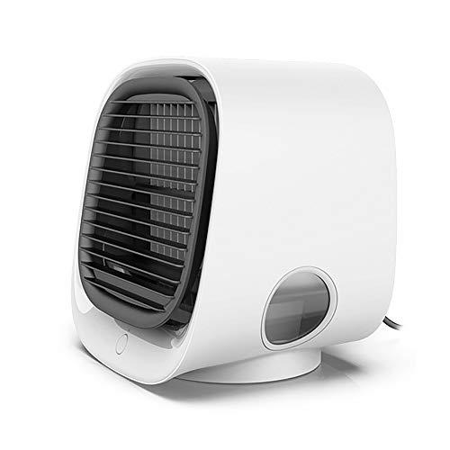 Ventilador portátil, humidificador con baterías recargables USB para exteriores, hogar, viajes, escritorio, color blanco